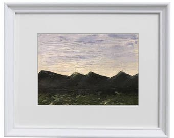 11x14 - Original Mountain Landscape Acrylic Painting on 9x11 Watercolor Paper - NOT a Print
