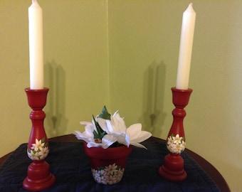 White Poinsettias candle stick and planter set