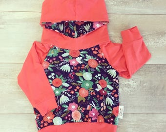 Hooded sweater for baby and child, bamboo coral and flowers on Navy