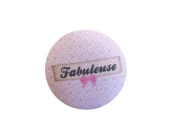x 1 cabochon 19mm fabulous BOUT12 fabric