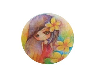 1 cabochon 28mm x 4 BOUT11 flowers girl fabric