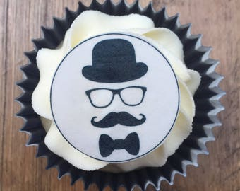 Moustache Cake Toppers, Man's Birthday Cake Toppers, Gentleman Cake Topper, Father's Day Cupcake Toppers, Edible Cake Toppers