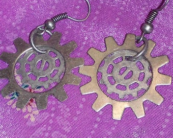 Double gear earrings   E-2