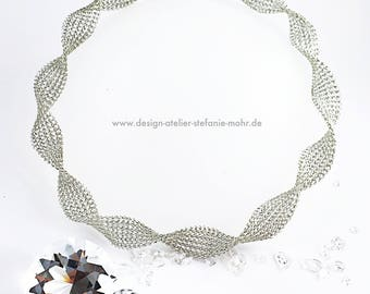 wire crochet twisted collier / necklace silver coloured copper wire 45-50 cm