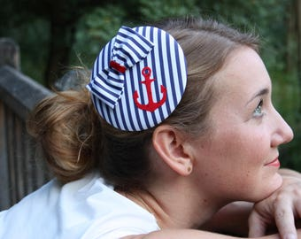 Fascinator maritime blue and white striped with red anchor and loop