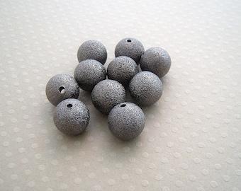 Set of 10 12 mm - 0564 SDD12 gunmetal stardust metal beads