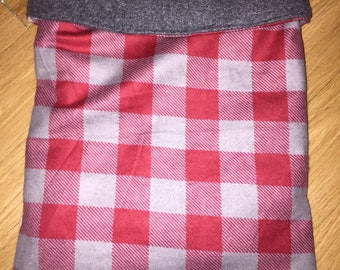 Red&grey plaid cuddle pouch/bonding pouch