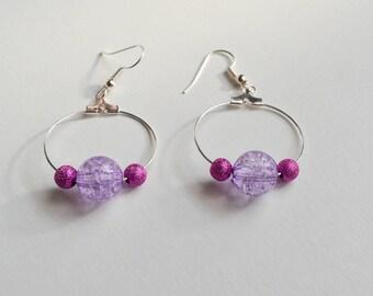 JEWELRY, pair of hoop earrings in shades of pink