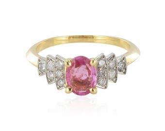 Bague saphir rose diamants brillants Or blanc 18K Moderne