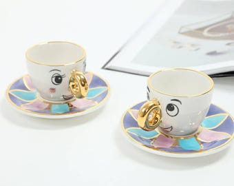 Chip Tea cup set for use inspired by Beauty and The Beast/cup and saucer/espresso cup