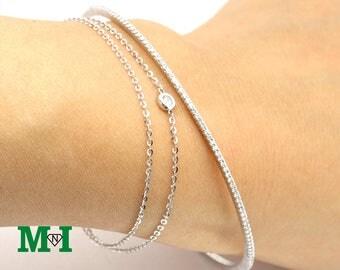 Diamond Bangle Bracelet, Natural Diamond,14K Solid Gold Bracelet, Diamond Wedding Bracelet, Thin Bracelet, Gift for Her
