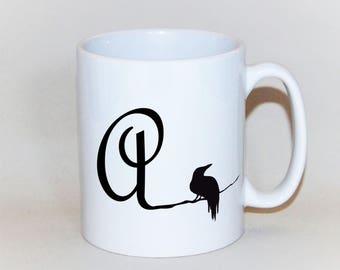 The Raven 'A' initial mug, feather on reverse,  Edgar Allan Poe mug, Crow personalised mug, personalised raven xmas mug, Nevermore mug