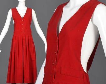 SALE Medium 1980s Jumper 80s Corduroy Dress Vintage Red Jumper Sleeveless Bright Red Jumper 1980s Teacher Dress Full Skirt Winter Dress