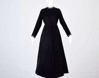 SALE Small 1970s Maxi Dress 70s Dress Black Velvet Maxi Dress Long Sleeve Dress Goth Maxi Dress Rhinestone Trim Formal Hostess Woman Vintage