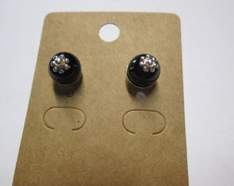 Nice pair of earring studs with a black glass bead