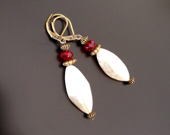 BRONZE EARRINGS, Pearl and Crystal