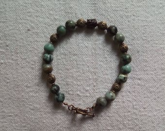 Mixed bracelet African Turquoise and wooden Buddha