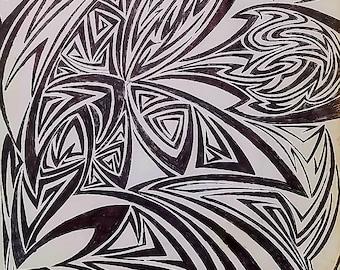 Original Abstract Modern Art, Abstract Drawing, Abstract Art, Modern Drawing, Geometrical Art