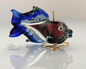 Flashy lampwork fish focal bead