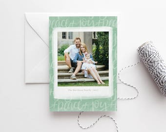 Peace and Joy Photo Christmas Cards 2017 - Custom - Hand Lettered Modern Calligraphy - Printed Family Christmas Cards - Holiday Cards