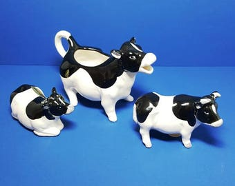 Vintage Holstein Cow Creamer with Salt and Pepper Calf Shakers Set, Japan