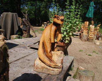 Otter Carved from Oak Chainsaw Sculpture