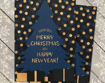 Christmas Card Download, Digital Xmas Card, Unique Christmas Card, Family Christmas Card, Modern Christmas Card, Elegant Xmas Card Blue Gold