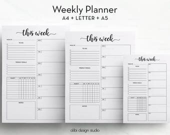 Weekly Planner, A5 Planner Inserts, A4 Printable, Printable Planner, Weekly Schedule, Planner Inserts, To Do List, Habit Tracker, Week plan