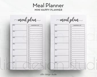 Meal Planner, MINI Happy Planner, Meal planning, Weekly Meal Planner, Printable Planner, MINI MAMBI, Meal Tracker, Shopping List, To Do