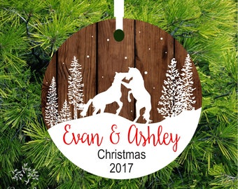 Personalized Horse Ornament | Mr and Mrs Wedding Ornament | Personalized Wedding Gift  | Item# OHP01 - lovebirdschristmas