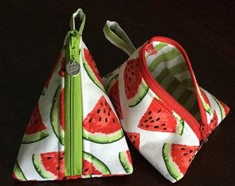 Triangular zipper pouch makeup bag toiletry bag medicine pouch small bag cute storage bridesmaid gift cactus watermelon flamingo