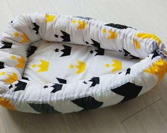 Cosleeper,Babynest,baby shower gift,baby cocoon,sleeping bed,black and yellow print,chevron print,crown baby print,new baby gift