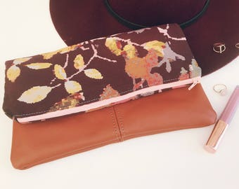 Floral tapestry Fold Over Clutch-Genuine Leather-- Zipper Clutch, gift for her,- day- evening