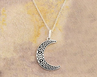 """Beautiful Ornate Sterling Silver Crescent Moon Pendant with Enamel + 18"""" Sterling Silver Rope Chain"""