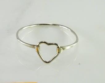 Wire Formed Heart Bracelet Sterling