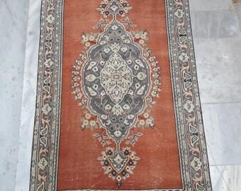 "Entryway Rug,Persian Rug,Vintage Rug,İndoor Mat,home design,Small Rug,Boho Rug,Black Rug,Oushak Rug,Floor Rug 2'8""×4'8""feet"