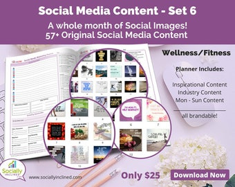 Social Media Images - Content for Fitness / wellness (SET 6) -- 57+ original images with blank planner pages, checklists, tasks, and goals