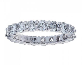 2.50 Carat Round Cut Diamond Eternity Band Ring 14k White Gold