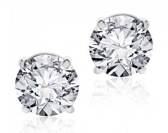 1.15 cttw Round Brilliant Diamond Screw Back Studs F-G/VS2 14K White Gold