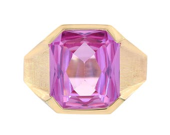8.00 Carat Princess Cut Pink Quartz Men's Ring 14K Yellow Gold