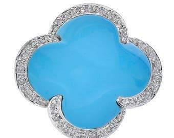 4.80 Carat Turquoise & Diamond Quatrefoil Clover Flower Ring 14K White Gold