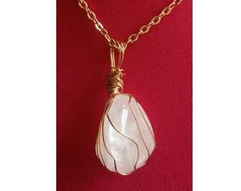 Rose Quartz Crystal Pendant, Handmade, Wire Wrapped (Copper Wire #1)
