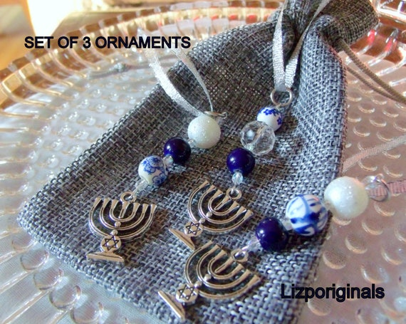 Hanukkah  crystal ornaments - holiday gift - blue white ceramic beads - home decor -  set of 3 menorah charms - party favors
