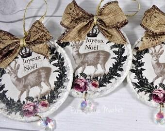 Shabby Chic Christmas Ornaments Christmas Deer Ornaments Joyeux Noel French Romantic Christmas Decorations Holiday Decor