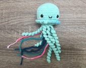 cute jellyfish keychain (light teal) - handmade crochet - amigurumi - plush - toy