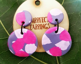 Pink and purple clay stud dangle earrings