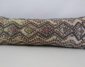 12x36 vintage turkish kilim pillow lumbar pillow 12x36 turkish lumbar pillow cover embroidered pillow boho pillow bedding pillow SP3096-130