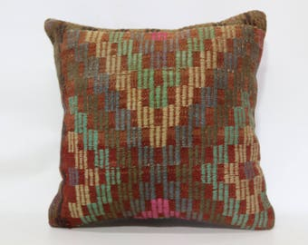 Turkish Kilim Pillow Throw Pillow 20x20 Handwoven Kilim Pillow Decorative Kilim Pillow Floor Pillow Cushion Cover SP5050-1873