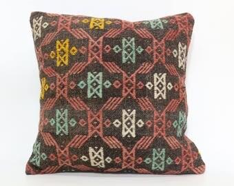 Sofa Pillow Naturel Kilim Pillow Handwoven Embroidered Kilim Pillow 20x20 Decorative Kilim Pillow Throw Pillow Cushion Cover SP5050-1931