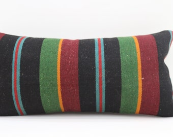 12x24 Kilim Pillow Throw Pillow Boho Pillow Striped Kilim Pillow 12x24  Green Pillow Multicolor Pillow Red Pillow Cushion Cover SP3060-1682